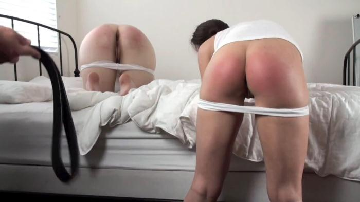 Bared and oiled for the belt Home spanking FullHD 1080p