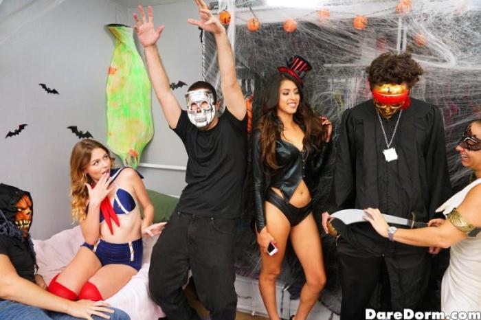D4r3D0rm.com - Sophia Leone, Michelle Martinez, Joseline Kelly - Halloween Dress Down (Group sex) [SD, 432p]