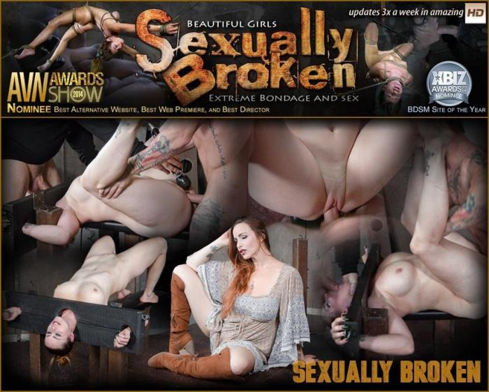 Bella Rossi bound in stocks, brutally face fucked upside down and roughly fucked to orgasms! (SexuallyBroken) SD 540p