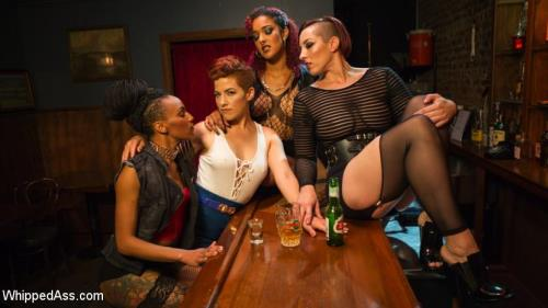 Ingrid Mouth, Daisy Ducati, Mistress Kara, Nikki Darling - Dyke Bar 5: New girl spanked, flogged, and strap-on DPd! (WhippedAss) [SD 540p]