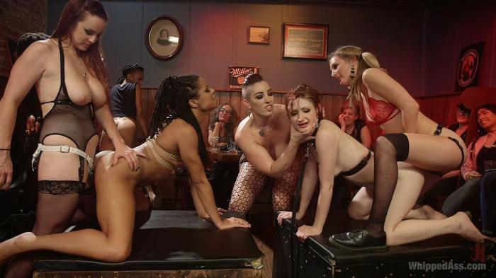 Mistress Kara, Mona Wales, Bella Rossi, Kira Noir, Violet Monroe, Mimosa & Dylan Ryan - Dyke Bar LIVE!!! (WhippedAss) HD 720p