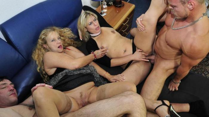 Elif O. & Beate G. - Wild German foursome with naughty mature blonde swingers [SD/480p/564 MB]