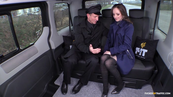 FuckedInTraffic: Natalia Pearl - Cabbie George Uhl fucks brunette Czech beauty on the backseat of his cab [HD 453 MB]