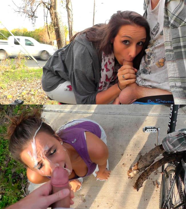 ManyVids: Mariah Leonne - EXTREME risky public roadside facial (FullHD/2016)