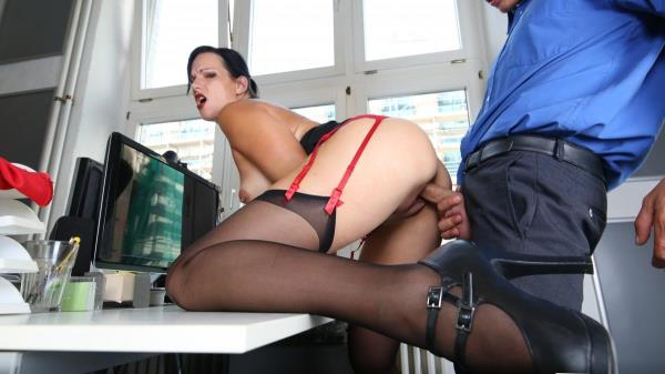 Sina Velvet - Sexy German brunette secretary sucks dick and fucks at the office 480p