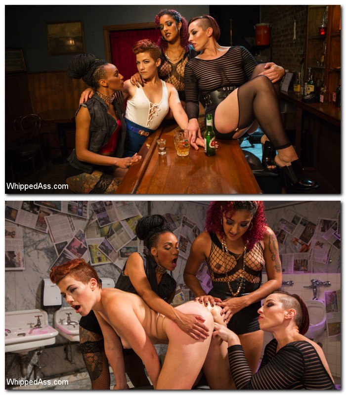 Ingrid Mouth, Daisy Ducati, Mistress Kara, Nikki Darling - Dyke Bar 5: New girl spanked, flogged, and strap-on DPd!  [SD 540p]