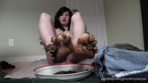 Scat [Eat my shit off my feet Foot fetish scat slave - Solo Scat] FullHD, 1080p