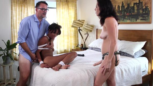 Helpless ebony tied up & forced fucked by pervy couple [1080p]