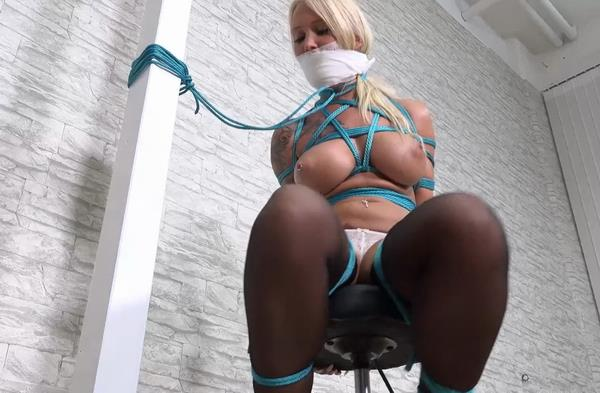 Kathleen Tight chair bondage with special gag: 1080p