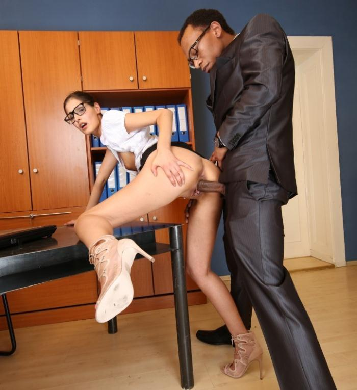 Coco Kiss - Naughty German babe Coco Kiss sucks and fucks black cock in office affair  [HD 720p]