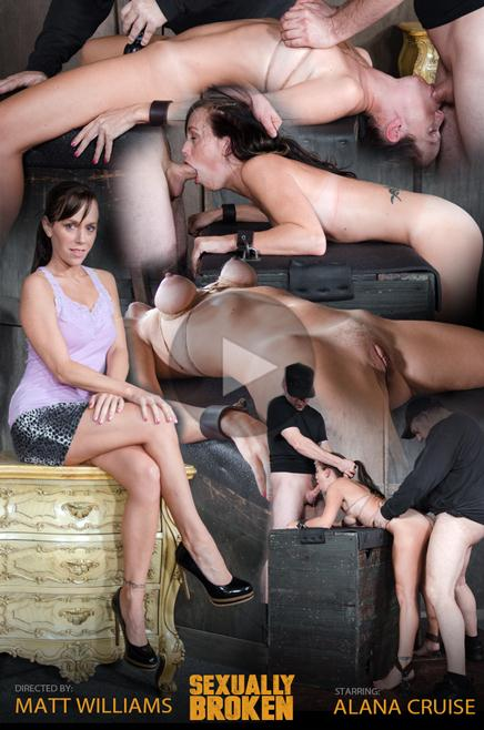 SexuallyBroken.com: Hot MILF has her tits brutally bound, her throat fucked upside down, and made to cum from huge cock! [HD] (706 MB)