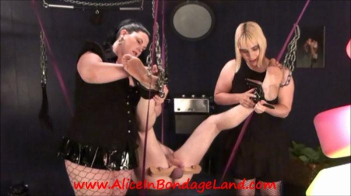 Blonde and Brunette Dominas and slave (AliceinBondageLand) SD 480p