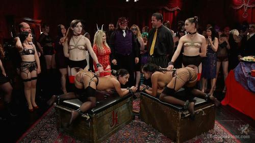 TheUpperFloor.com / Kink.com [Aiden Starr, Amara Romani, Sadie Santana, Kasey Warner & Ember Stone - Anal Slaves Serve Kinky Costume Ball] HD, 720p