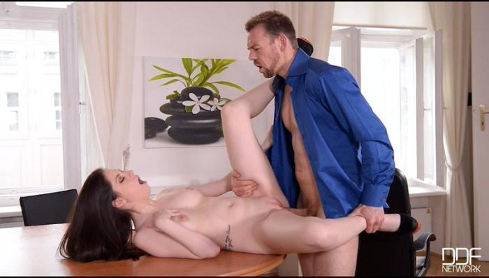 HandsOnHardcore.com / DDFNetwork.com - Rebecca Volpetti - Anal Cramming in The Office: College Babe Gets Cum in Ass [SD, 540p]