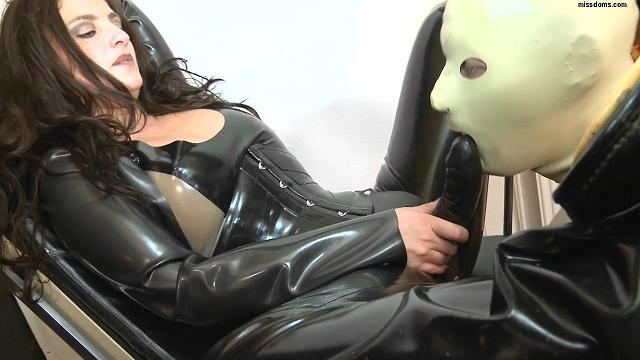 Slavegirl with Strapon and her slave in mask (Missdoms) HD 720p