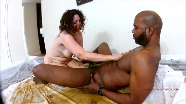 Woman shitting on black dick and masturbates dirty pussy - Interracial (FullHD 1080p)