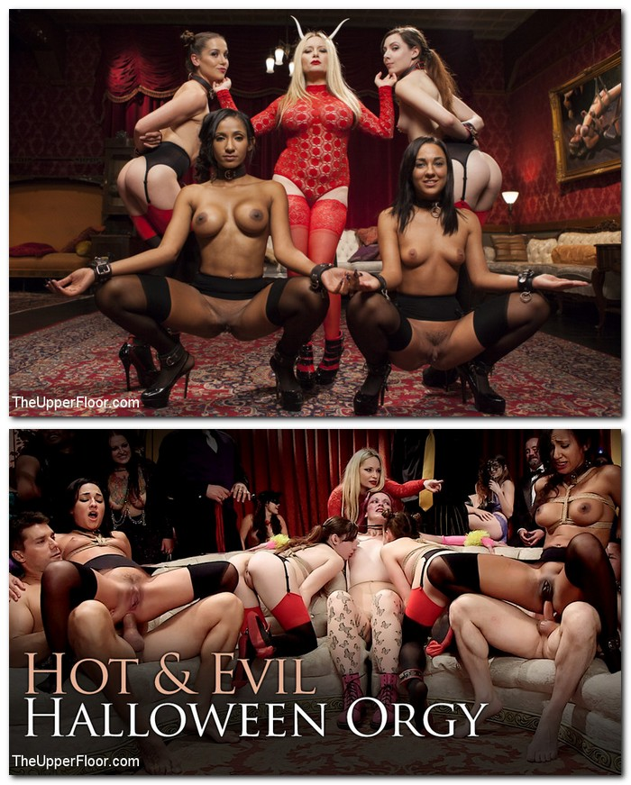SexAndSubmission/Kink: Aiden Starr, Amara Romani, Sadie Santana, Kasey Warner, Ember Stone - Evil and Hot Halloween Orgy  [SD 540p]  (BDSM)