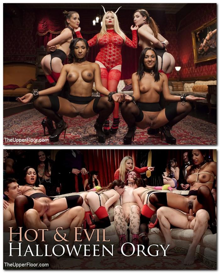 SexAndSubmission/Kink: Aiden Starr,Amara Romani, Sadie Santana,Kasey Warner, Ember Stone - Evil and Hot Halloween Orgy  [SD 540p]  (BDSM)