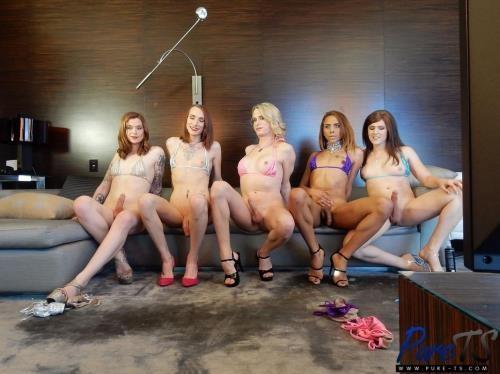 Pure-TS.com [Bailey Love, Joss Amor, Natalie Anderson, Nikki Vicious, Taryn Elizabeth - Massive Bareback Orgy] HD, 720p