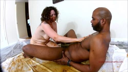 Fboom Scat [Woman shitting on black dick and masturbates dirty pussy - Interracial] FullHD, 1080p