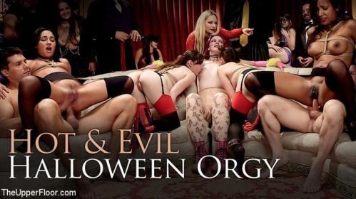 TheUpperFloor.com / Kink.com [Aiden Starr, Amara Romani, Sadie Santana, Kasey Warner - Evil & Hot Halloween Orgy] HD, 720p