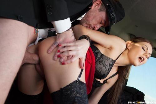 FuckedInTraffic.com / PornDoePremium.com [Tina Kay - Sexy British babe Tina Kay gives footjob and gets cum covered in the cab] SD, 480p