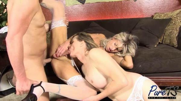 Miss Marcy, Robbi Racks - Big Boob TS MILFs Get Fucked Together - Pure-TS.com (HD, 720p)