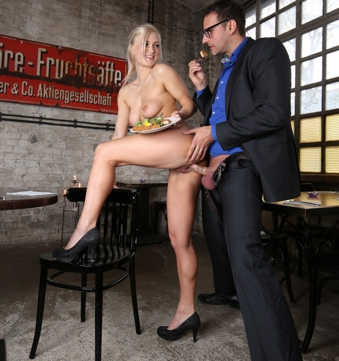 Kathi Rocks- Steak and Blowjob Day with sexy blonde German waitress Kathi Rocks and boss  [HD 720p] BumsBuero