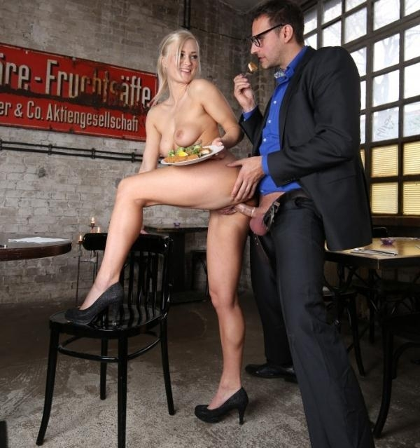 Kathi Rocks - Steak and Blowjob Day with sexy blonde German waitress Kathi Rocks and boss (BumsBuero) [HD 720p]