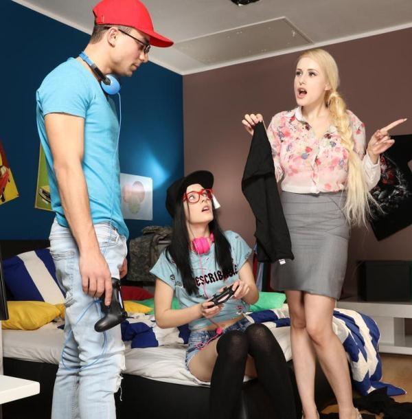 MomXXX: Angel Wicky,Anie Darling  - Big tits milf seduces son's teen gf (2017) FullHD  1080p