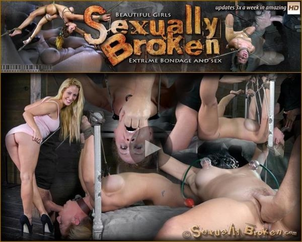 Cherie DeVille takes on two cock for the first time ever! Deep throated, bound and fucked! Part 1 - SexuallyBroken.com (HD, 720p)
