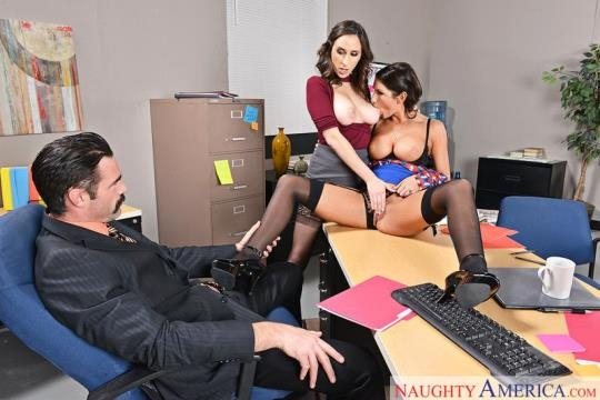 NaughtyOffice, NaughtyAmerica: Ashley Adams, August Ames - Group sex (SD/360p/350 MB) 21.04.2017