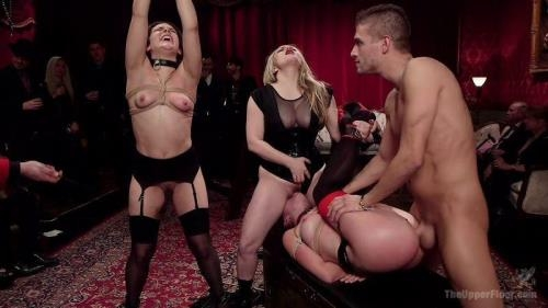 TheUpperFloor.com / Kink.com [Aiden Starr, Kimber Woods, Roxanne Rae - Holiday BDSM Slut Orgy turns Fangirl to Sex Slave] HD, 720p