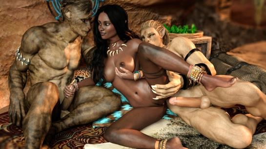 3d porn comics: Ebony babe gets double penetration from monster cocks in Lonely Huntress from Naama (65 Pages/77.49 MB) 18.05.2017