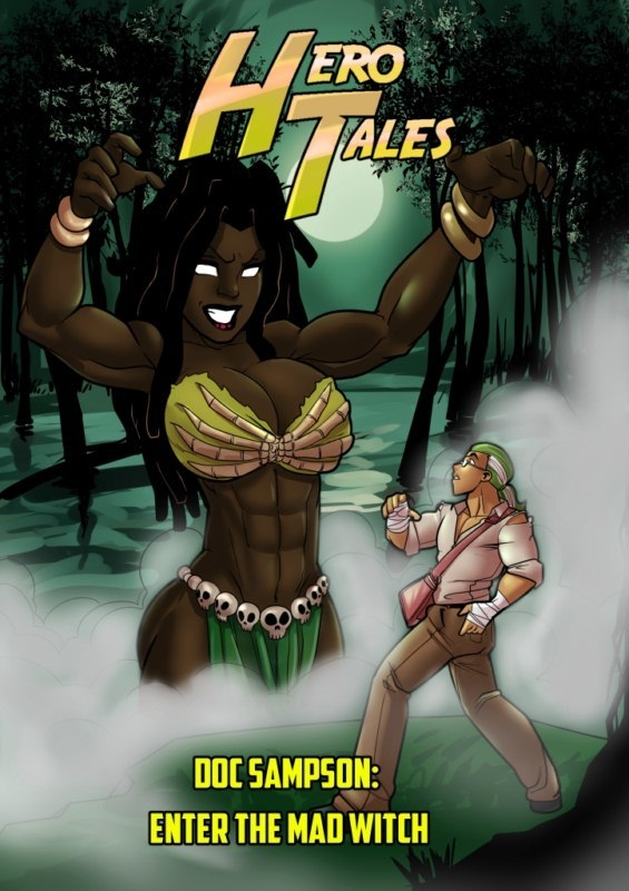Muscular Ebony babe with sexy abs fucking white monster cock in Hero Tales - Enter The Mad Witch 1 art by Patreon [10  pages]