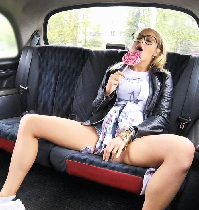 FakeTaxi - Candy Alexa - Teen Rubs Lollypop On Her Pussy [FullHD 1080p]