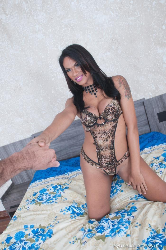 TSRaw - Mylla Pereira - Leopard Bikini and Ass Filled With Cum [HD 720p]