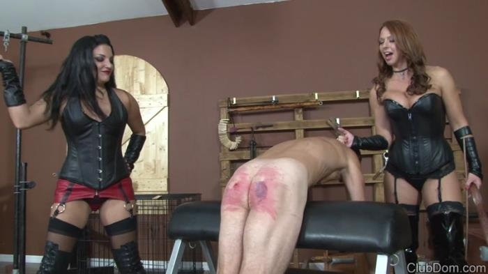 Goddess Brianna and Michelle Lacy - Leather Strapping And Caning The Slave (ClubDom) HD 720p
