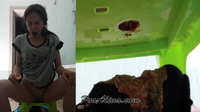 Toilet slave eats Alinas morning diarrhea - Femdom Scat (Scat Porn) FullHD 1080p
