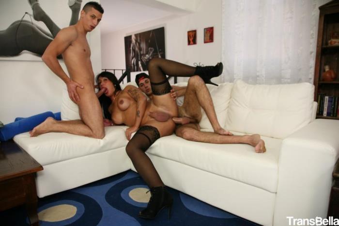 Raphaela Martins - Brunette Italian shemale Raphaela Martins splurges on two men in threesome (TransBella) HD 720p