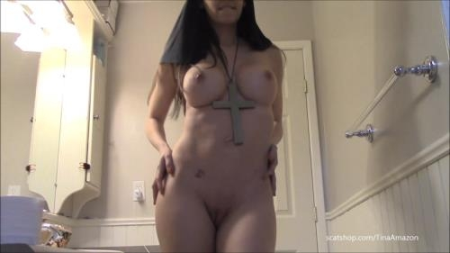Scat [Naughty nun shit smear and swallow - Solo Scat] FullHD, 1080p