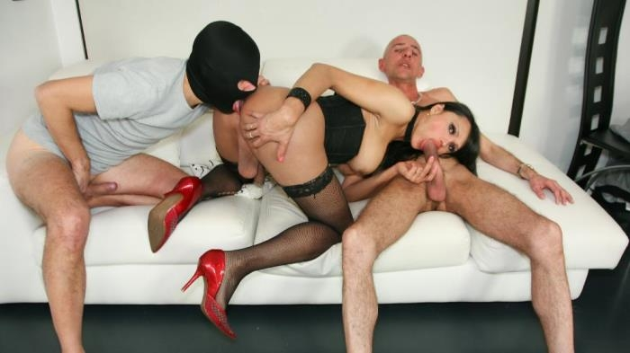 Fabian Feitosa - Hot Latina tranny Fabian Feitosa gets two hard cocks in wild threesome (TransBella) HD 720p