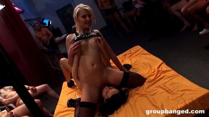 GroupBanged - Elina, Melly - Two Lesbians Gangbang For Their Amusement [FullHD 1080p]