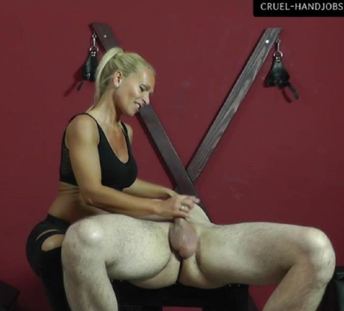 Matchless cruel handjob by blond mistress