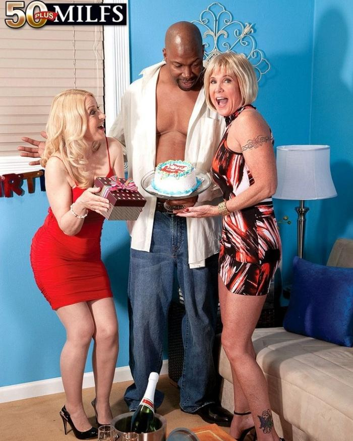 50plusmilfs - Robin Pachino, Honey Ray - Two hot matures sharing big black cock [HD 720p]