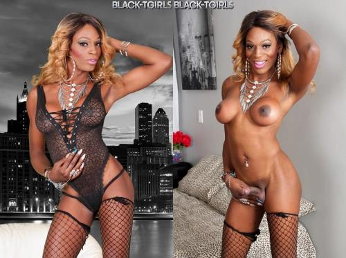 Black-TGirls.com [Stella Rivera Jacks Her Cock!] HD, 720p