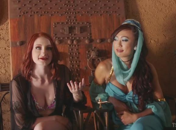 Violet Monroe, Venus Lux (The Evil Genie With a Weenie seduces Violet Monroe with her cock / 14.08.17) [Kink, TSPussyHunters / SD]