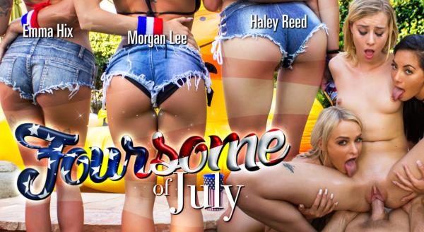 Emma Hix & Haley Reed & Morgan Lee - Foursome of July - WankzVR.com (FullHD, 1080p) [3D VR]