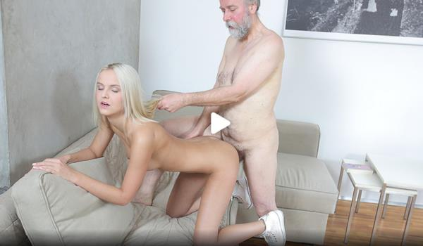 Joleyna Burst - Old man seduces blonde maid into serving his old dick (HD 720p)