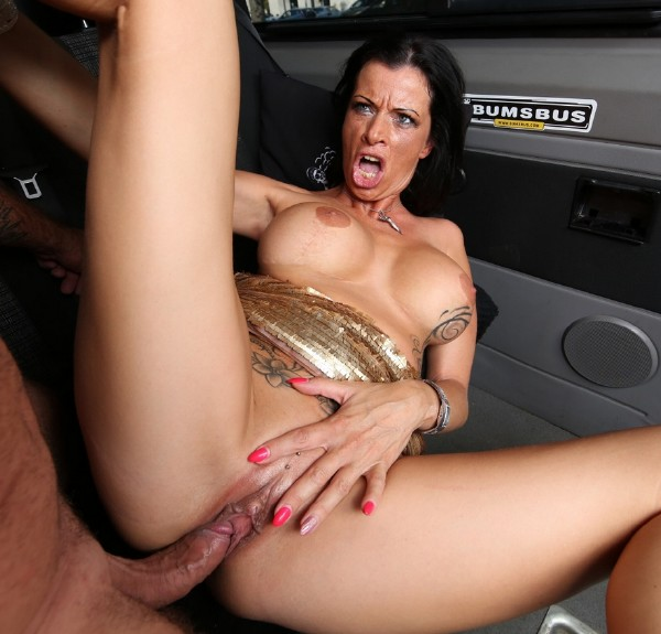 BumsBus/PornDoePremium - Dacada - Slutty German Milf Dacada gets cum on tits in raunchy bus fuck [HD 720p]